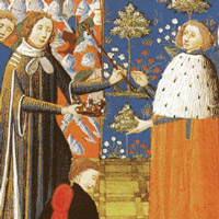 Richard II yields the crown to Henry IV.