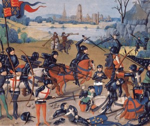 The battle of Agincourt, taken from a manuscript painted just after the event.