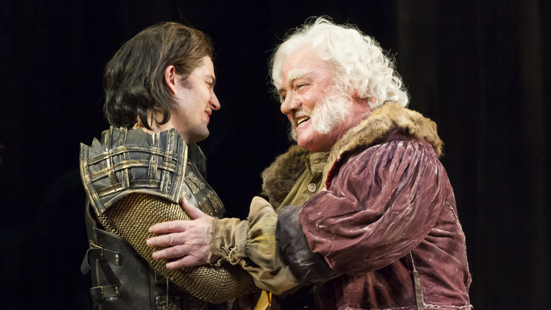 Stacy Keach as Falstaff and Matthew Amendt as Prince Hal in the Shakespeare Theatre Company production of 'Henry IV, Part 1', directed by Michael Kahn. Photo by Scott Suchman.
