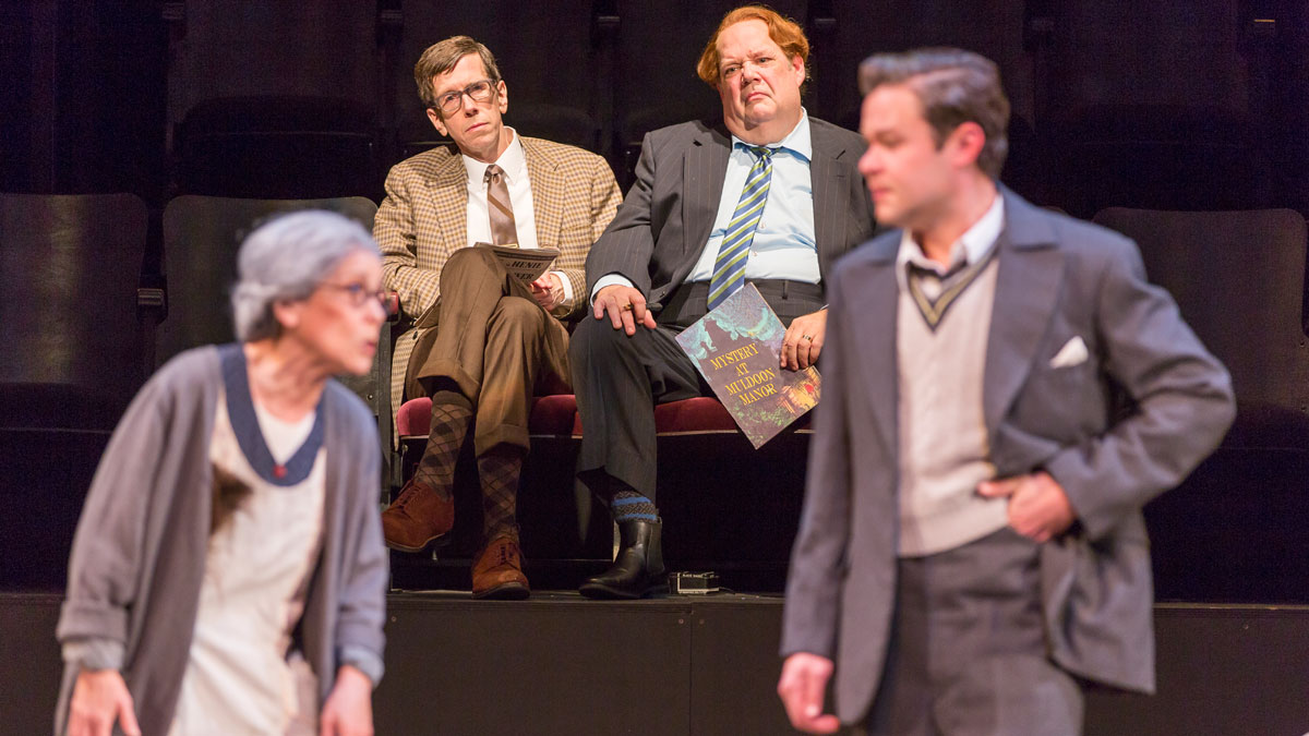 Naomi Jacobson, Robert Stanton, John Ahlin, and John Catron in The Real Inspector Hound, directed by Michael Kahn. Photo by Scott Suchman.
