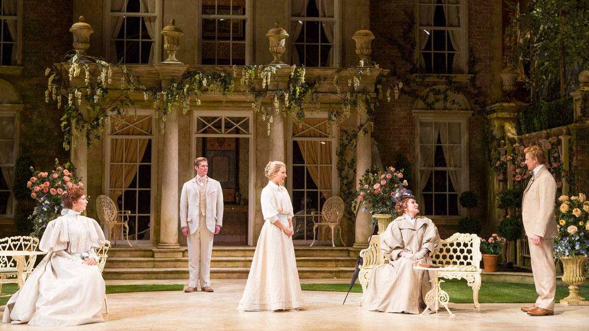 Vanessa Morosco, Gregory Wooddell, Katie Fabel, Siân Phillips and Anthony Roach in The Importance of Being Earnest, directed by Keith Baxter. Photo by Scott Suchman.