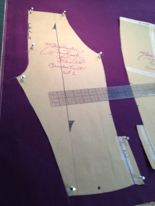 33. beginning to lay out the pattern in real fabric (breeches)