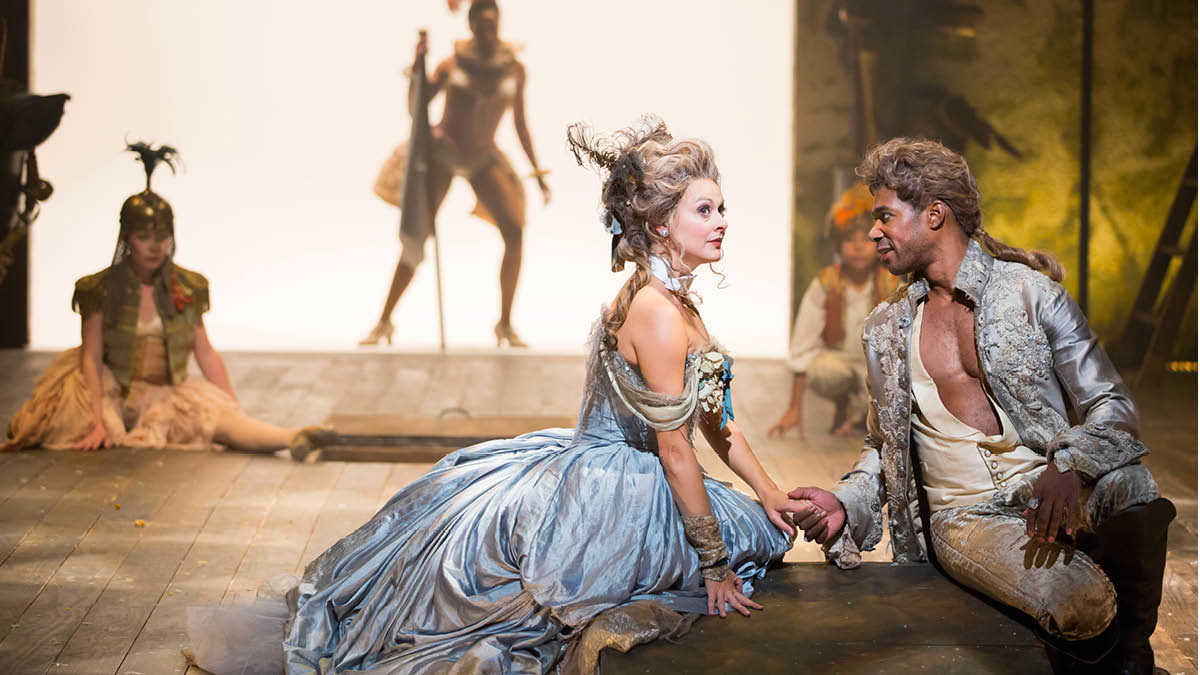 Sara Topham and Dion Johnstone in the 2015 Free For All production of A Midsummer Night's Dream. Photo by Scott Suchman.