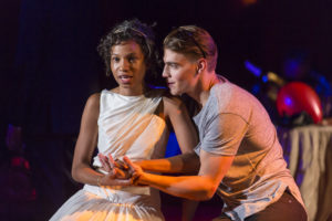 Ayana Workman as Juliet and Andrew Veenstra as Romeo in Shakespeare Theatre Company's production of Romeo & Juliet, directed by Alan Paul. Photo by Scott Suchman.