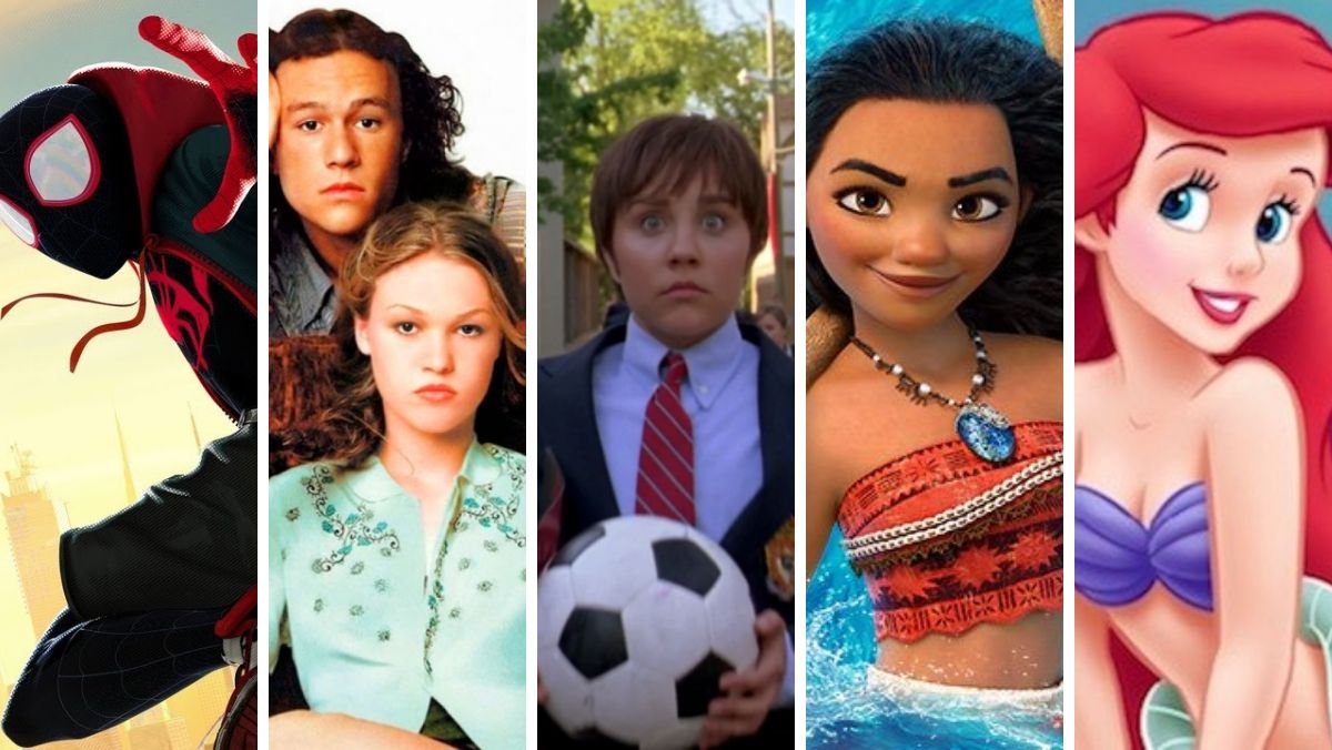 From left to right;Spider-Man: Into the Spider-Verse, 10 Things I Hate About You, She's the Man, Moana, The Little Mermaid