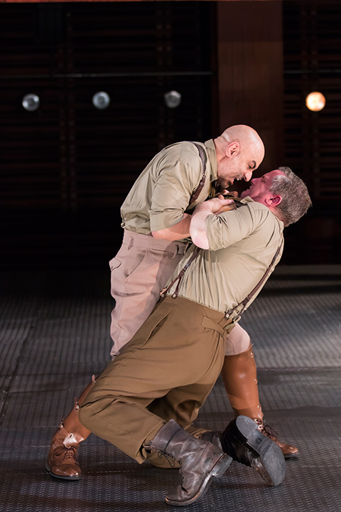 Faran Tahir as Othello and Jonno Roberts as Iago in STC's Othello