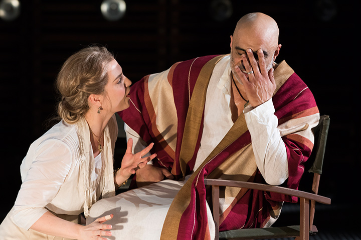 Ryman Sneed as Desdemona and Faran Tahir as Othello in STC's Othello