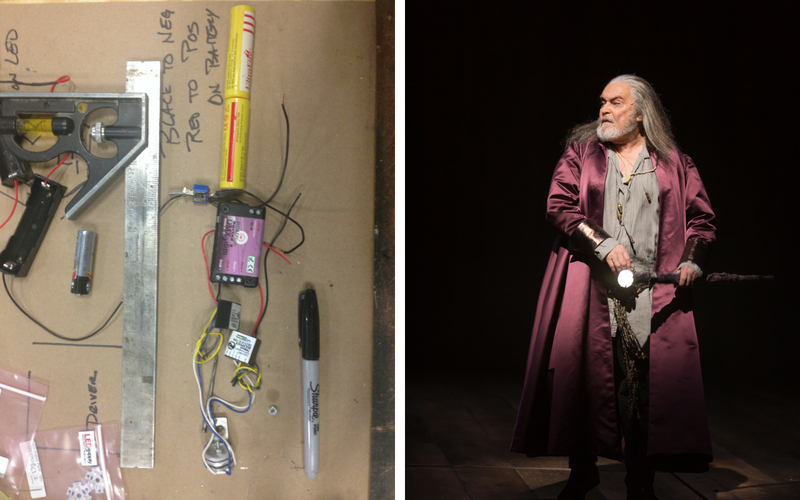 From shop to stage! On the left, everything our Prop Shop needed to fit into the top of the cane, with help from LED Supply (www.ledsupply.com) who helped us put together a simple system. On the right, STC Affiliated Artist Ted van Griethuysen as Merlyn with his light-up cane onstage.