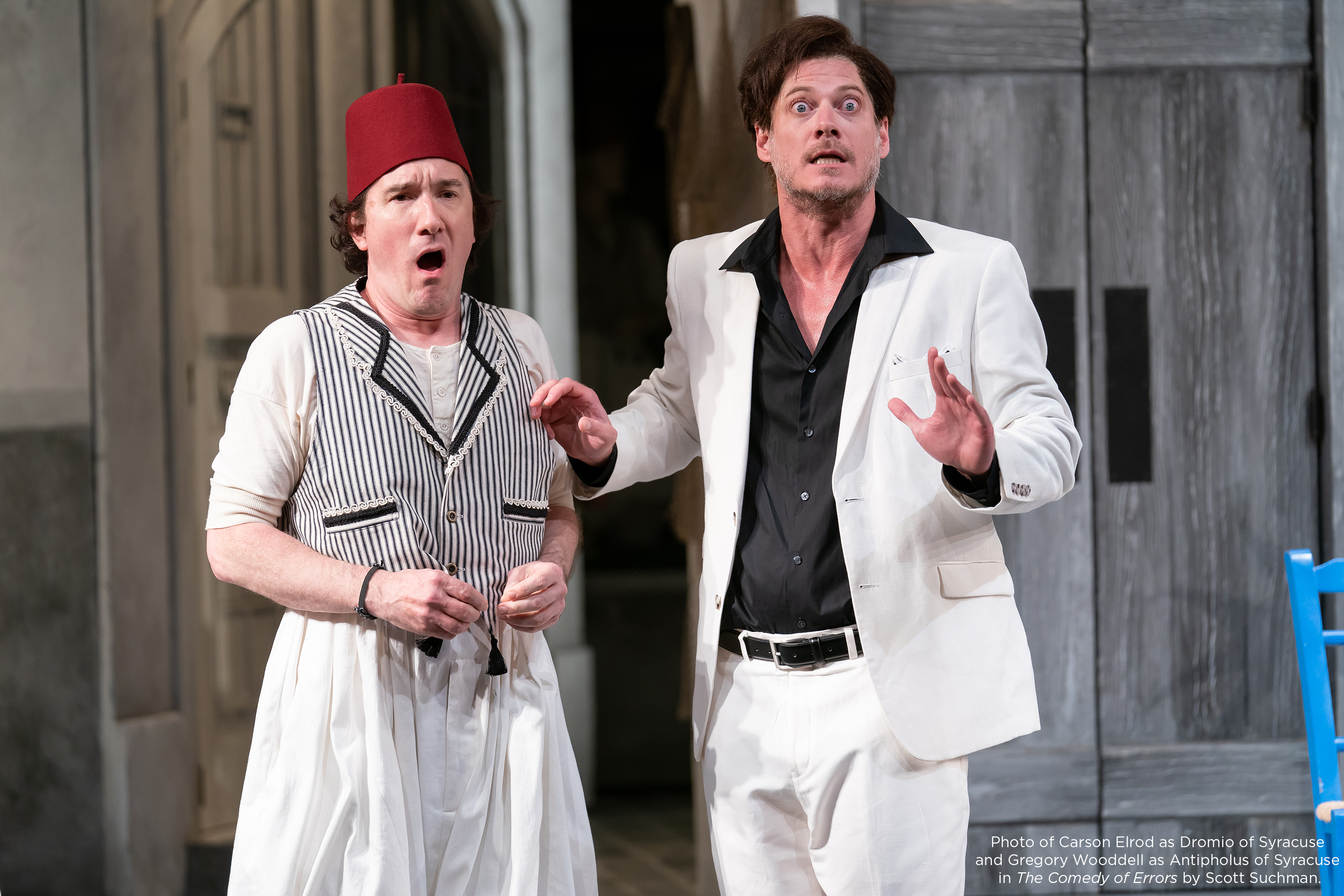Photo of Carson Elrod as Dromio of Syracuse and Gregory Wooddell as Antipholus of Syracuse in The Comedy of Errors by Scott Suchman.