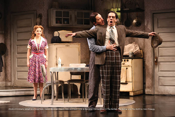Photo of Kimberly Gilbert as Louise Mask, Carson Elrod as Joseph Mask and Kevin Isola as Benjamin Mandelshtam in The Panties, The Partner and The Profit by Carol Rosegg.