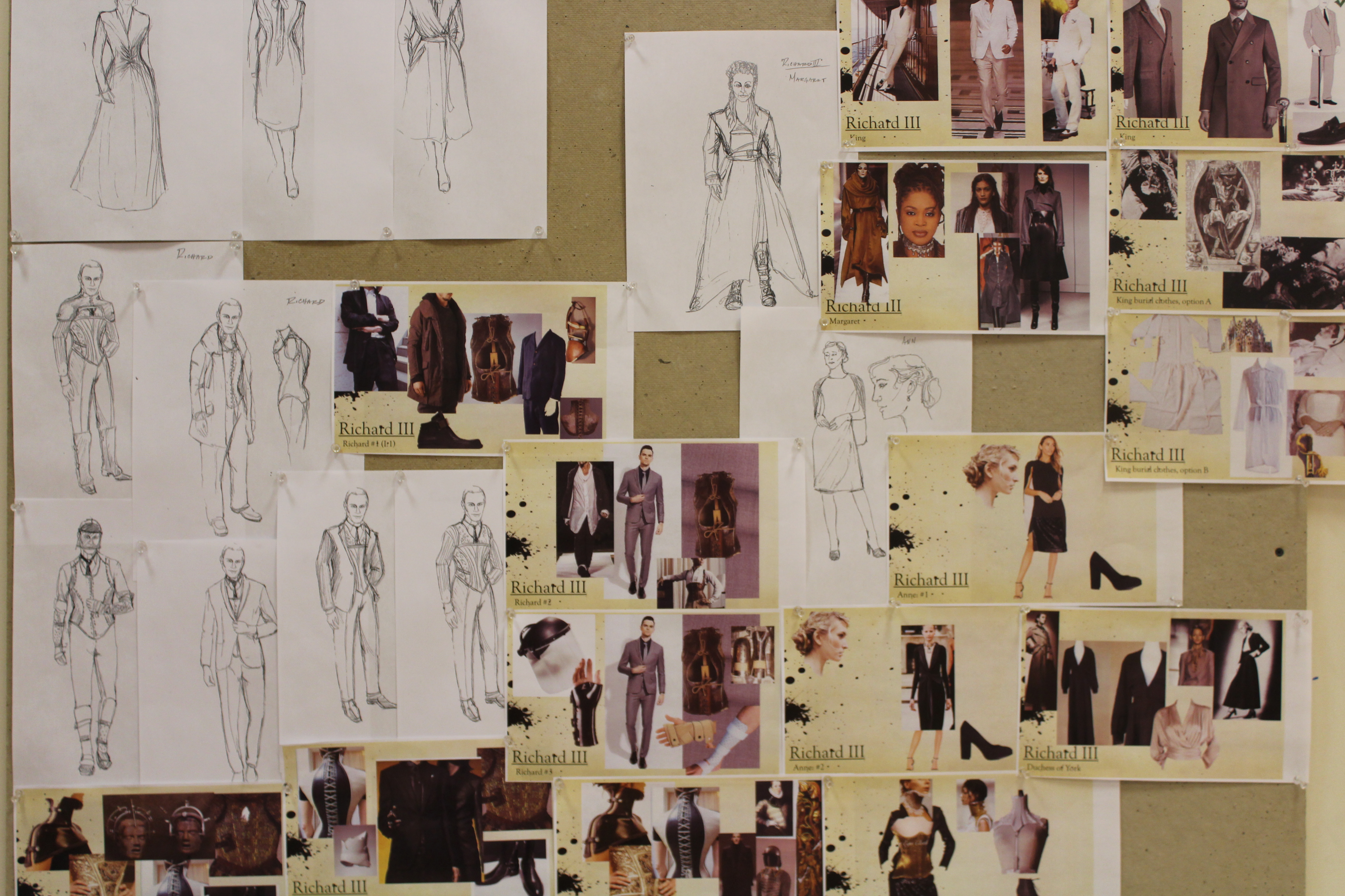 RICHARD THE THIRD costume sketches and research by Costume Designer Murell Horton.