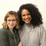 Photo of Director Jessica Stone and Maribel Martinez (Amelia Sedley) in rehearsal for Vanity Fair.