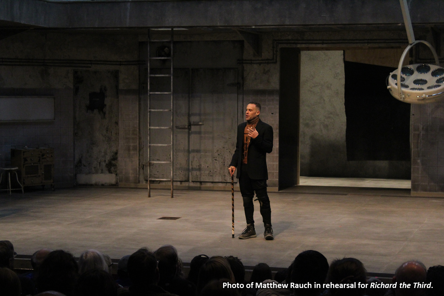 Photo of Matthew Rauch in rehearsal for Richard the Third.