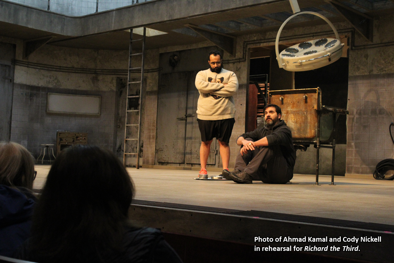 Photo of Ahmad Kamal and Cody Nickell in rehearsal for Richard the Third.
