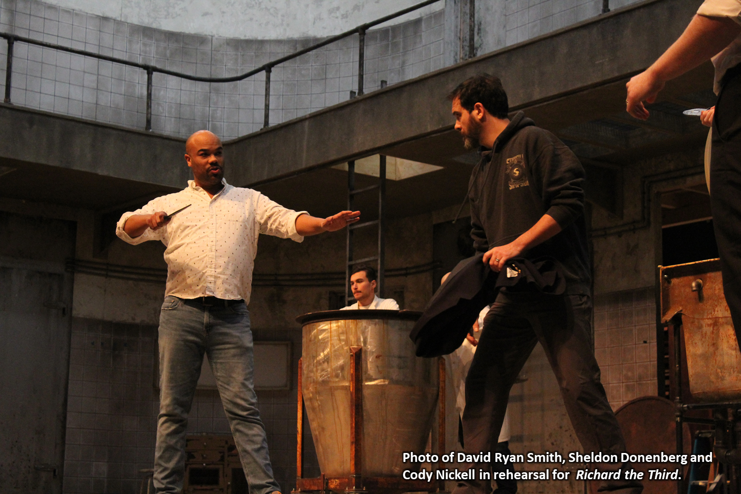 Photo of David Ryan Smith, Sheldon Donenberg and Cody Nickell in rehearsal for Richard the Third in rehearsal.