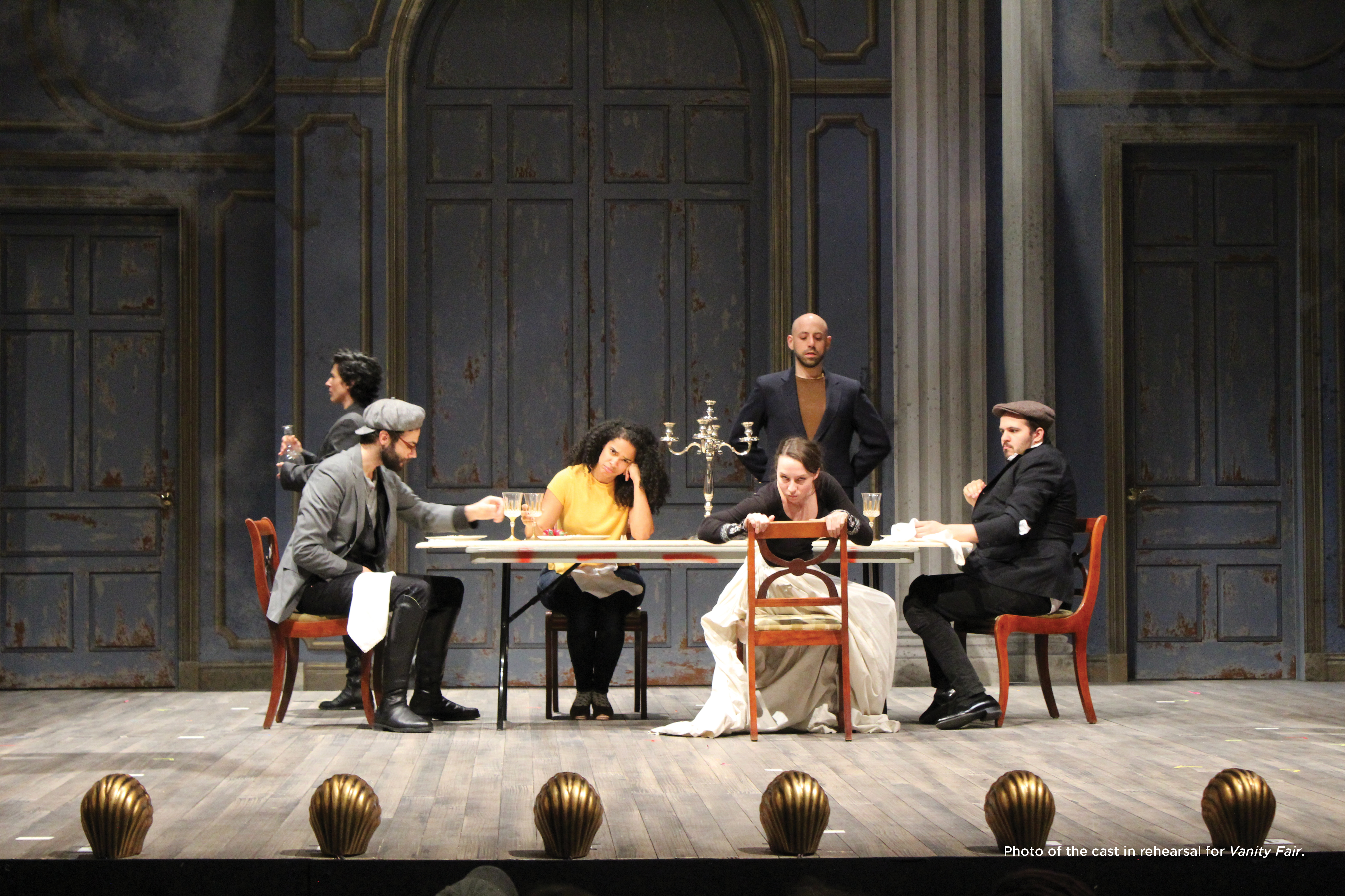 Photo of the cast in rehearsal for Vanity Fair.