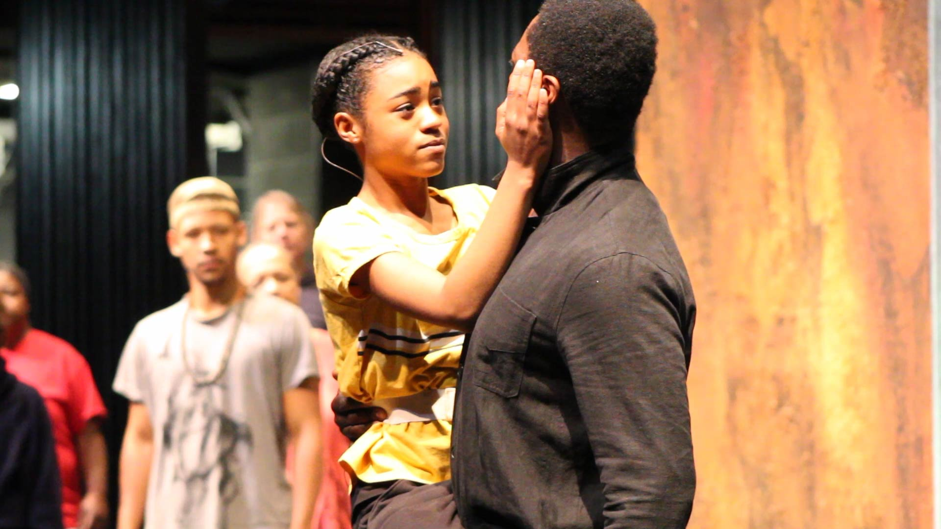 Photo of Simone Warren (Iphigenia) and Kelcey Watson (Agamemnon) in rehearsal for The Oresteia.