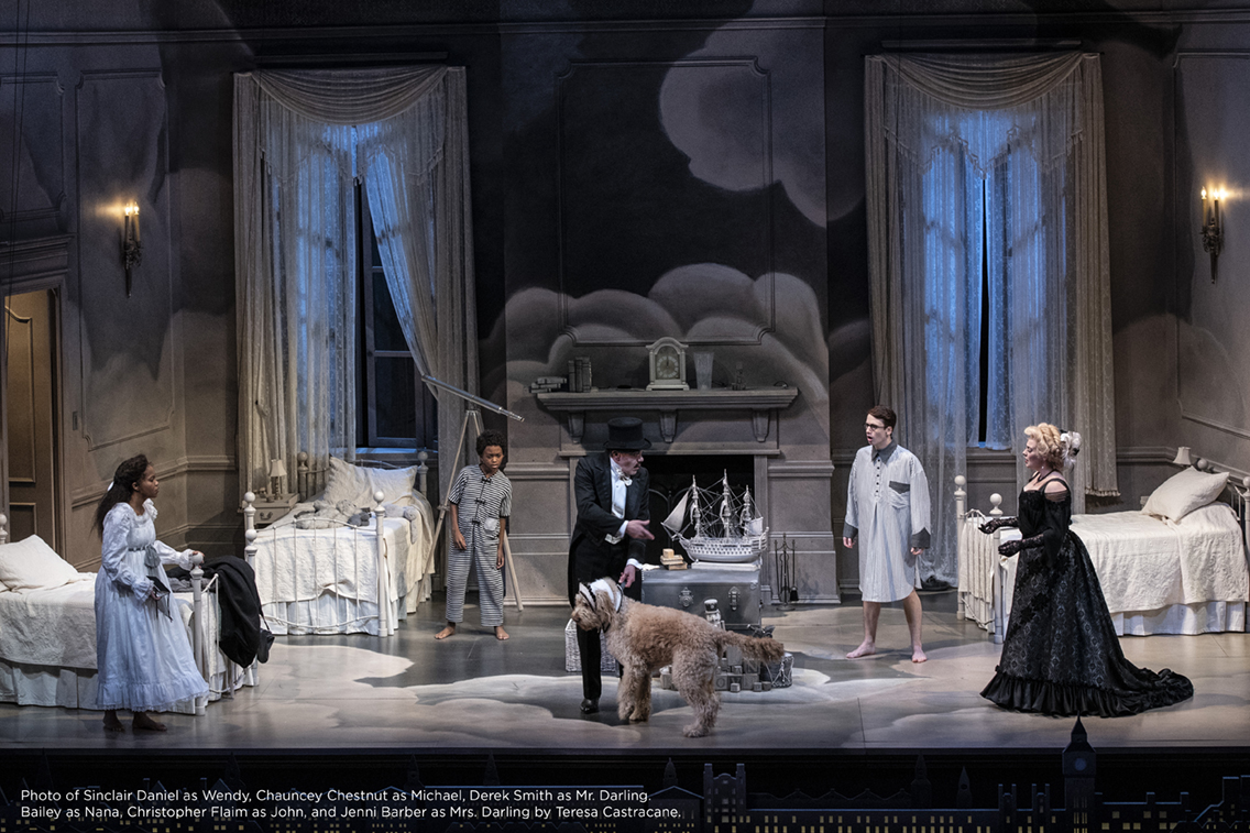 Photo of Sinclair Daniel as Wendy, Chauncey Chestnut as Michael, Derek Smith as Mr. Darling. Bailey as Nana, Christopher Flaim as John, and Jenni Barber as Mrs. Darling by Teresa Castracane.