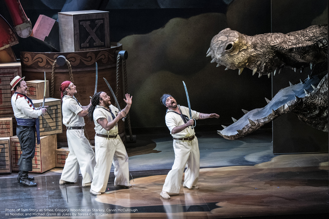 Photo of Tom Story as Smee, Gregory Wooddell as Starkey, Calvin McCullough as Noodler, and Michael Glenn as Jukes by Teresa Castracane.
