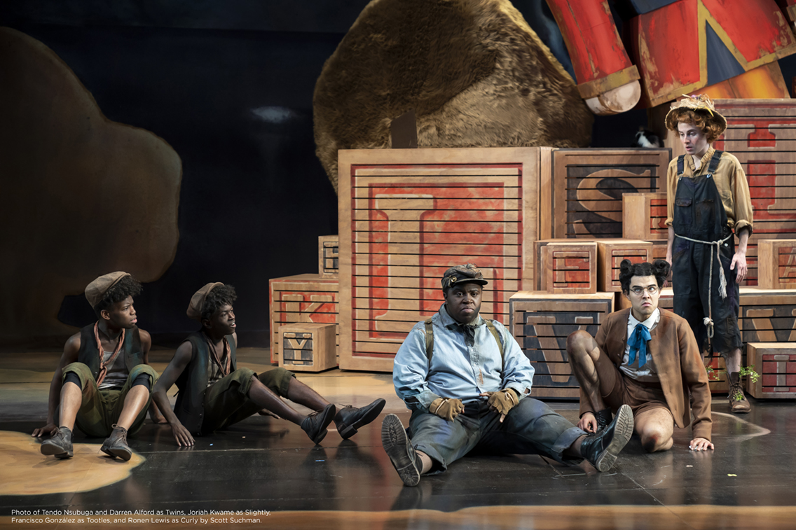Photo of Tendo Nsubuga and Darren Alford as Twins, Joriah Kwame as Slightly, Francisco González as Tootles, and Ronen Lewis as Curly by Scott Suchman.