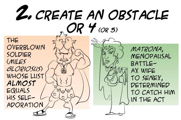 Create obstacles: Miles Gloriosus or Matrona