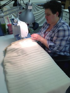 31. Costume stitcher, Donna Sachs stitching Dorante's shirt