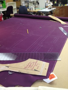 42. the pattern pieces for the breeches have been traced onto the fabric and are ready to cut