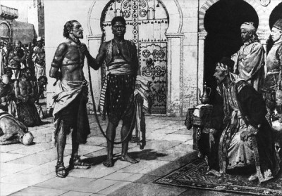Cervantes_brought_before_Hassan_Pasha,_the_king_of_Algiers (author and date unknown) K