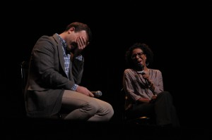 Drew Lichtenberg (STC Literary Manager), left, and Q &A moderator Ayanna Thompson (Professor of English at GWU), right, after the Shakespeare Theatre Company's ReDiscovery reading of Desdemona written by Toni Morrison, directed by Craig Baldwin.