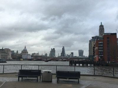 The central London skyline from the other side of the National Theatre.