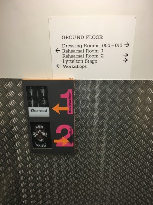 Sign that says which production goes where.