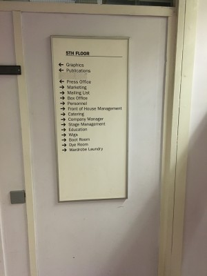 List of all the departments with directional indicators of where they are on the 5th floor.