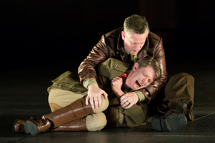 Patrick Vaill as Cassio and Jonno Roberts as Iago in STC's Othello