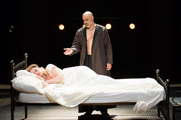 Faran Tahir as Othello and Ryman Sneed as Desdemona in STC's Othello