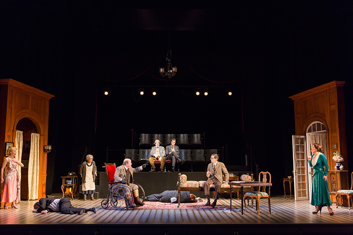 The cast of the Shakespeare Theatre Company's production of The Real Inspector Hound, directed by Michael Kahn.
