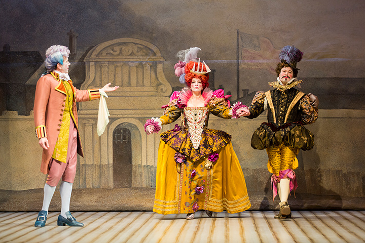 Left to right: Robert Stanton, Charity Jones, and John Catron in STC's The Critic, directed by Michael Kahn.