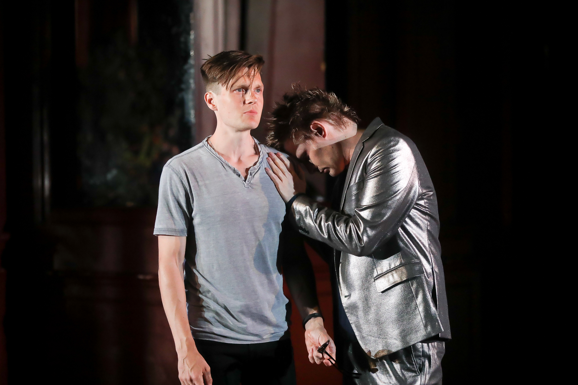 Photo of Sam Lilja as Romeo and Jeffrey Carlson as Mercutio in Romeo & Juliet by Tony Powell.