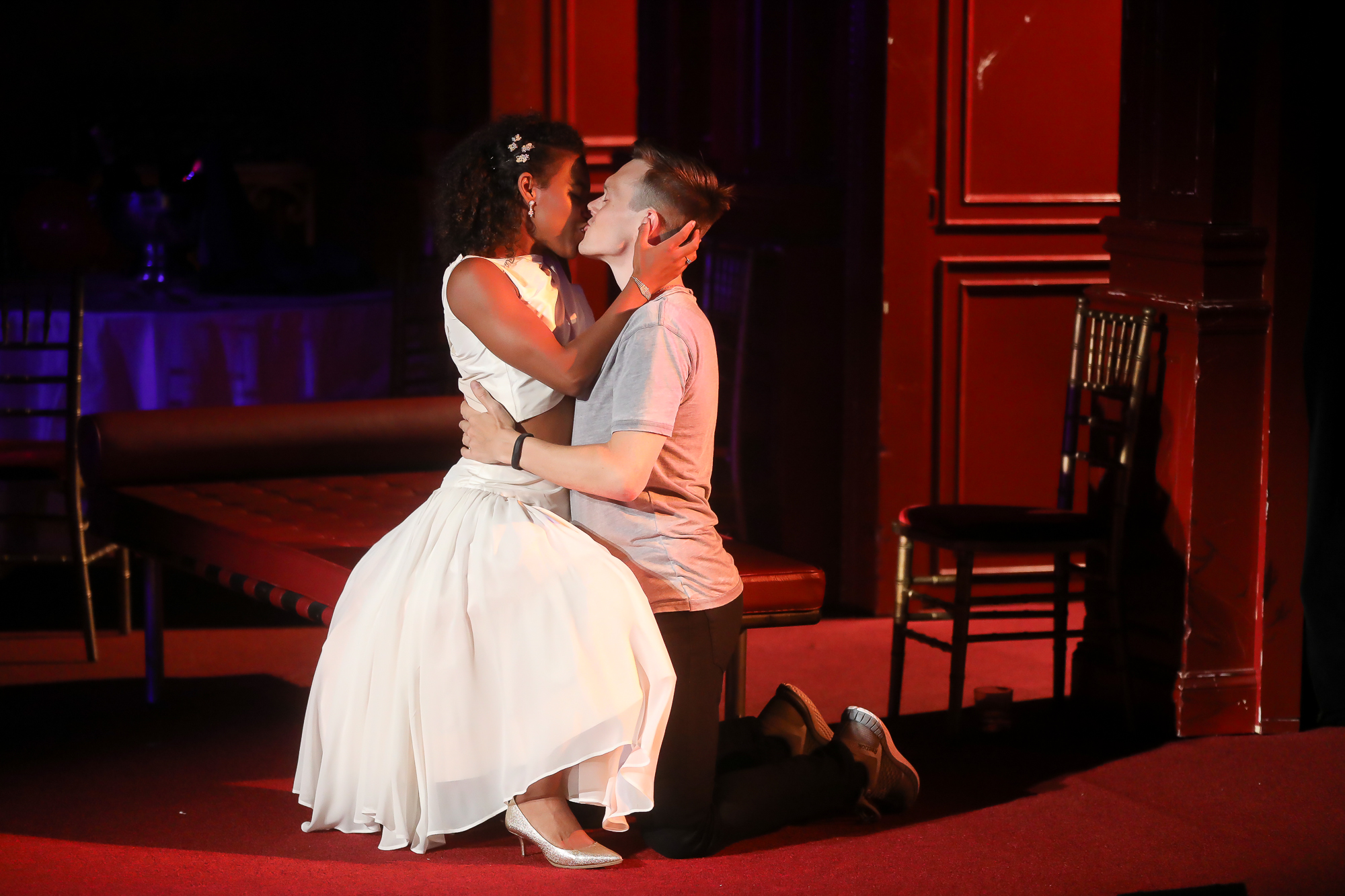 Photo of Danaya Esperanza as Juliet and Sam Lilja as Romeo in Romeo & Juliet by Tony Powell.