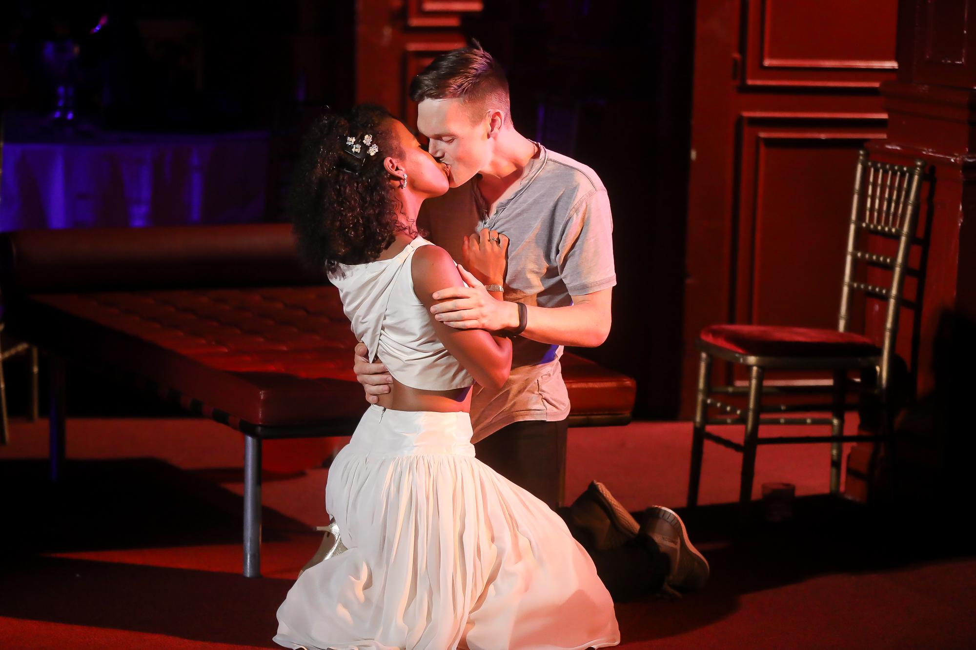 Photo of Danaya Esperanza as Juliet and Sam Lilja as Romeo in Romeo & Juliet by Tony Powell.
