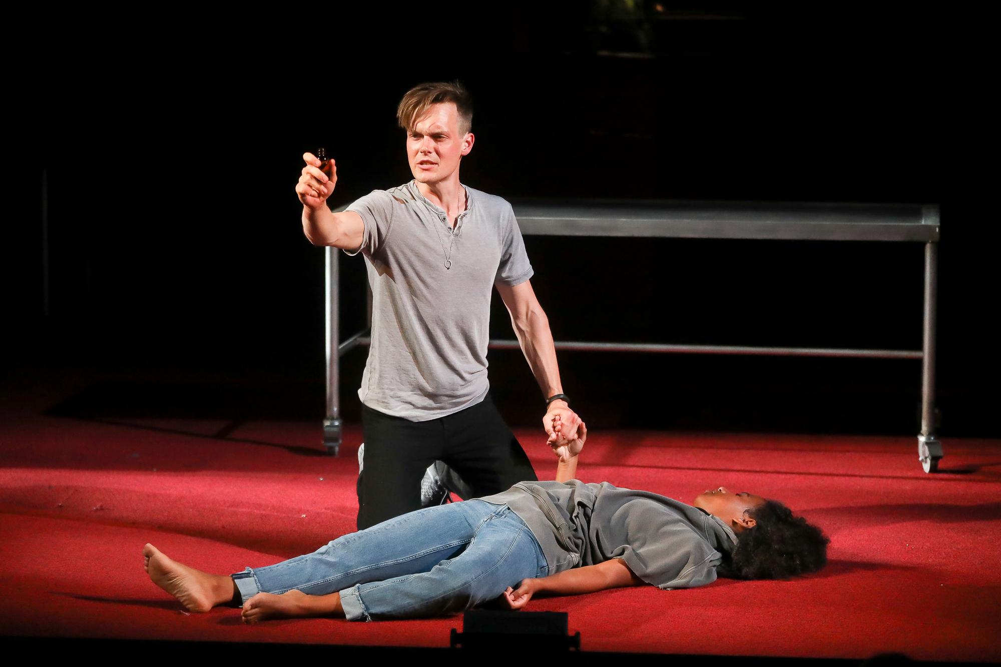 Photo of Sam Lilja as Romeo and Danaya Esperanza as Juliet in Romeo & Juliet by Tony Powell.