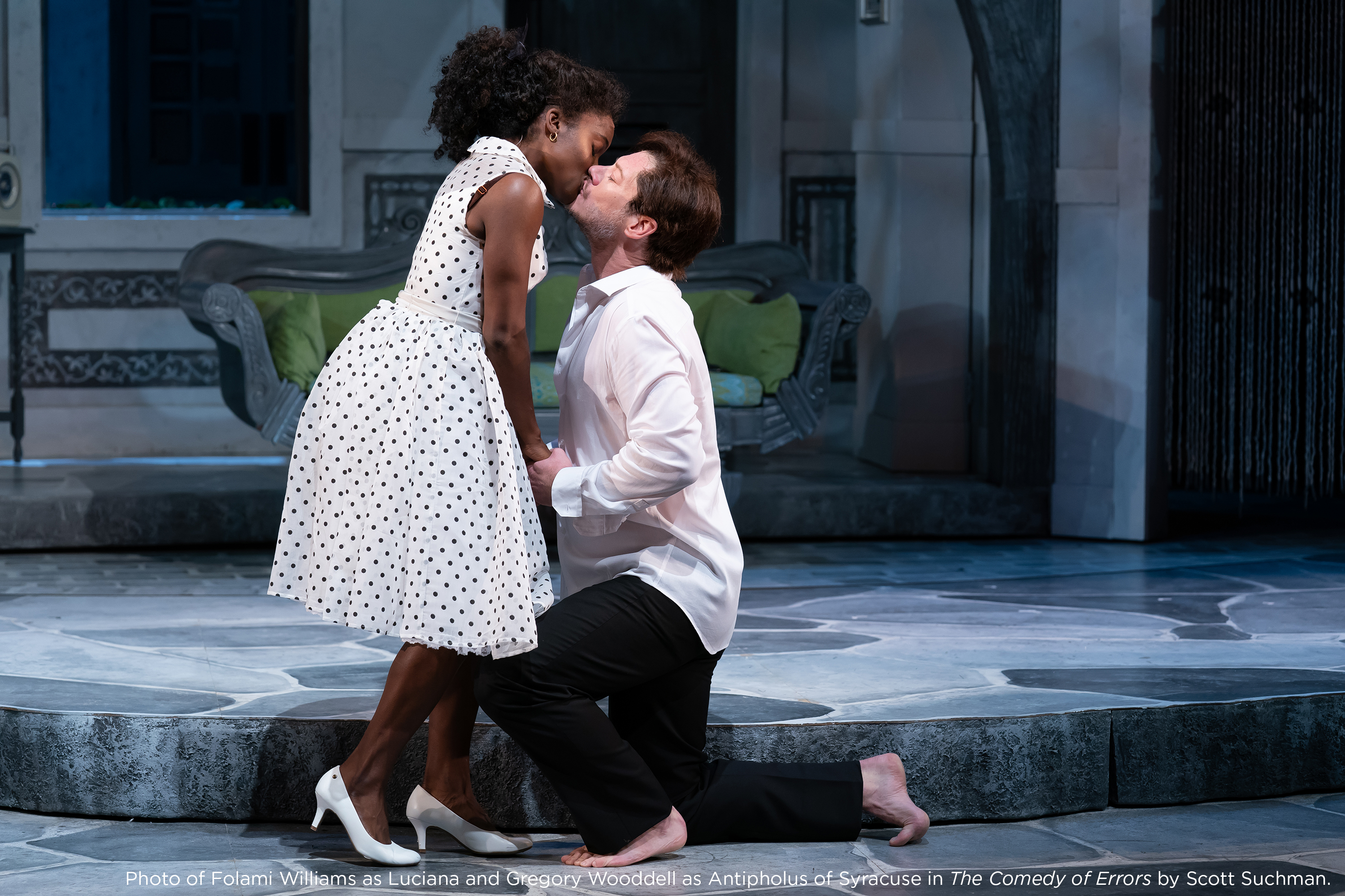 Photo of Folami Williams as Luciana and Gregory Wooddell as Antipholus of Syracuse in The Comedy of Errors by Scott Suchman.