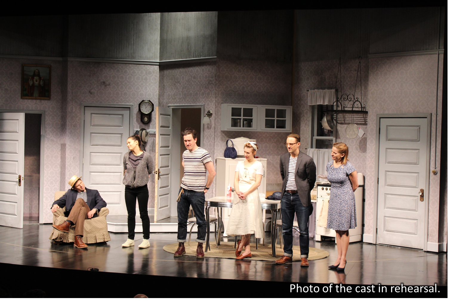 Photo of the cast of The Panties, The Partner and The Profit in rehearsal.