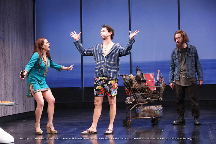Photo of Kimberly Gilbert as Louise Mask, Kevin Isola as Rabbi Mandelshtam and Carson Elrod as Joe Jones in The Panties, The Partner and The Profit by Carol Rosegg.