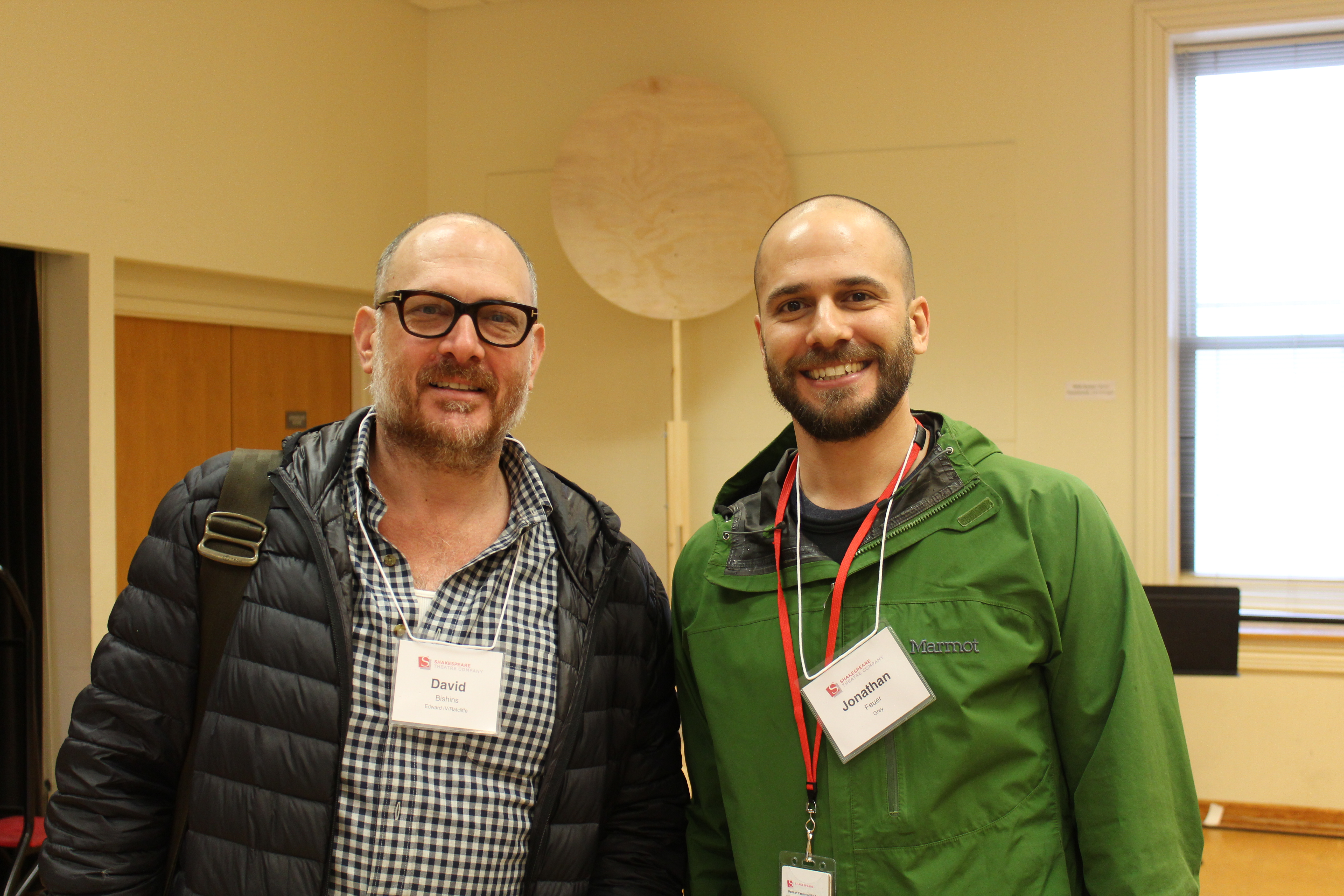 Photo of David Bishins (Edward / Ratcliffe) and Jonathan Feuer (Lord Gray) in rehearsal for Richard the Third.