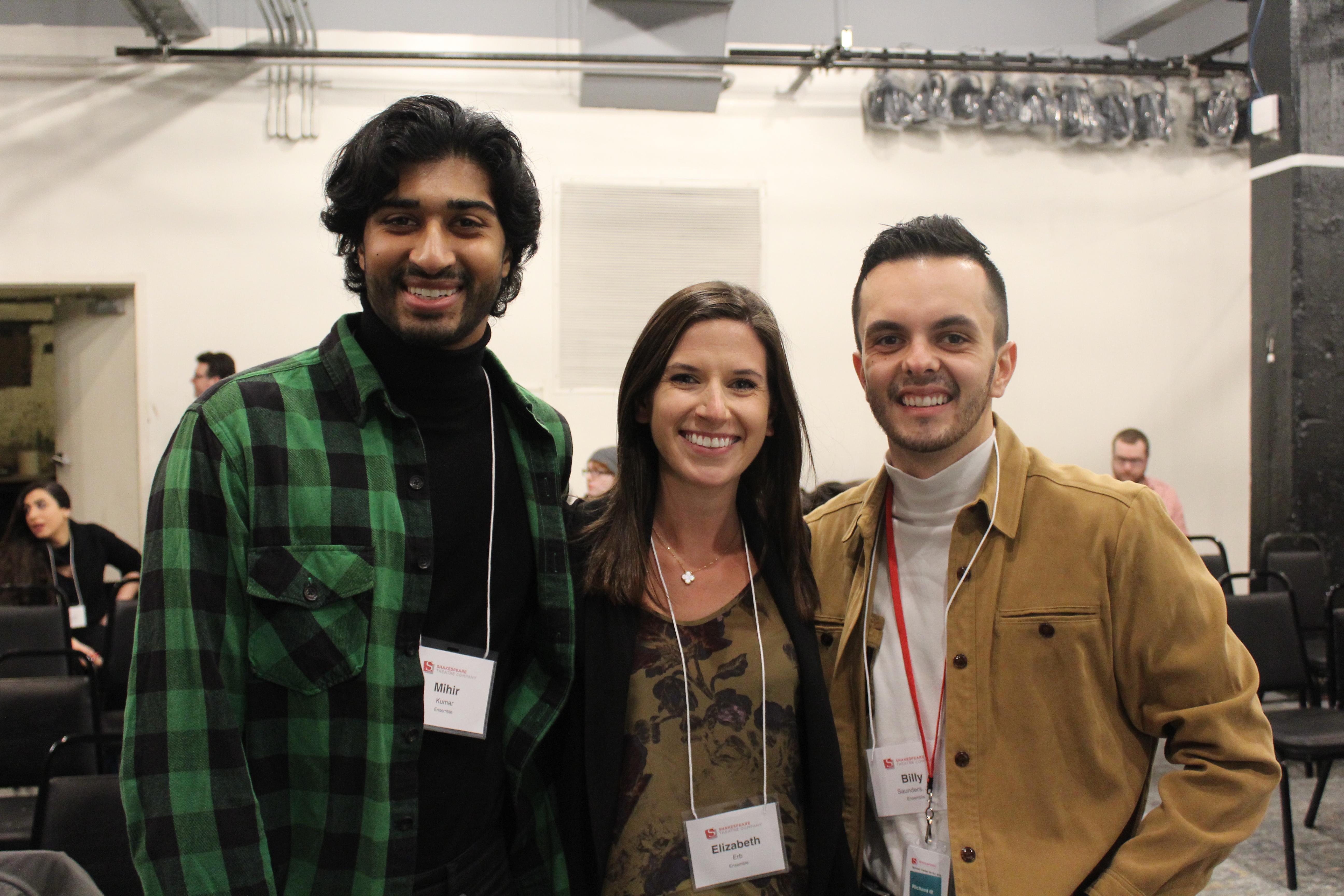 Photo of Mihir Kumar (Ensemble), Elizabeth Erb (Ensemble) and Billy Saunders, Jr(Ensemble) in rehearsal for Richard the Third.