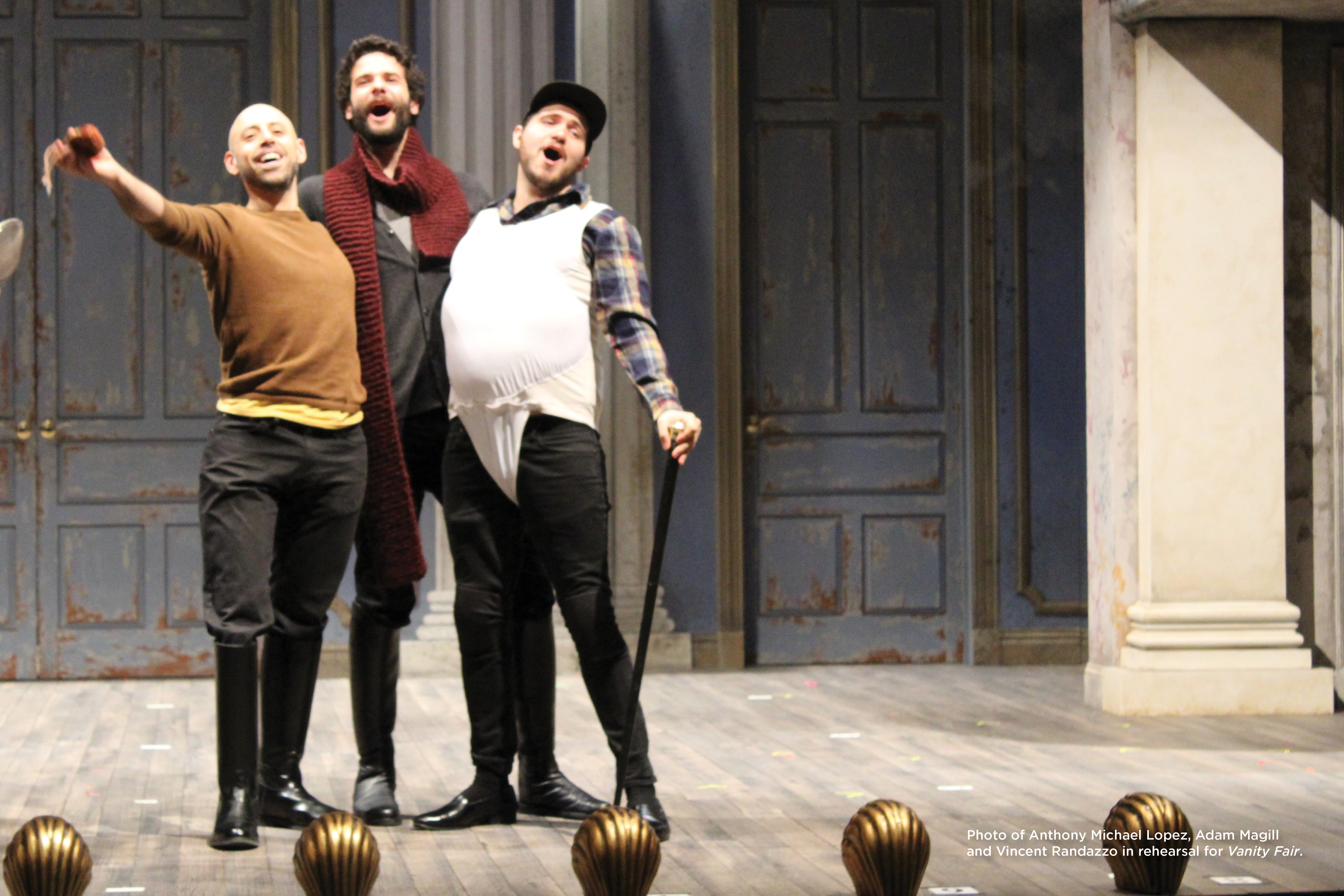 Photo of Anthony Michael Lopez, Adam Magill and Vincent Randazzo in rehearsal for Vanity Fair.