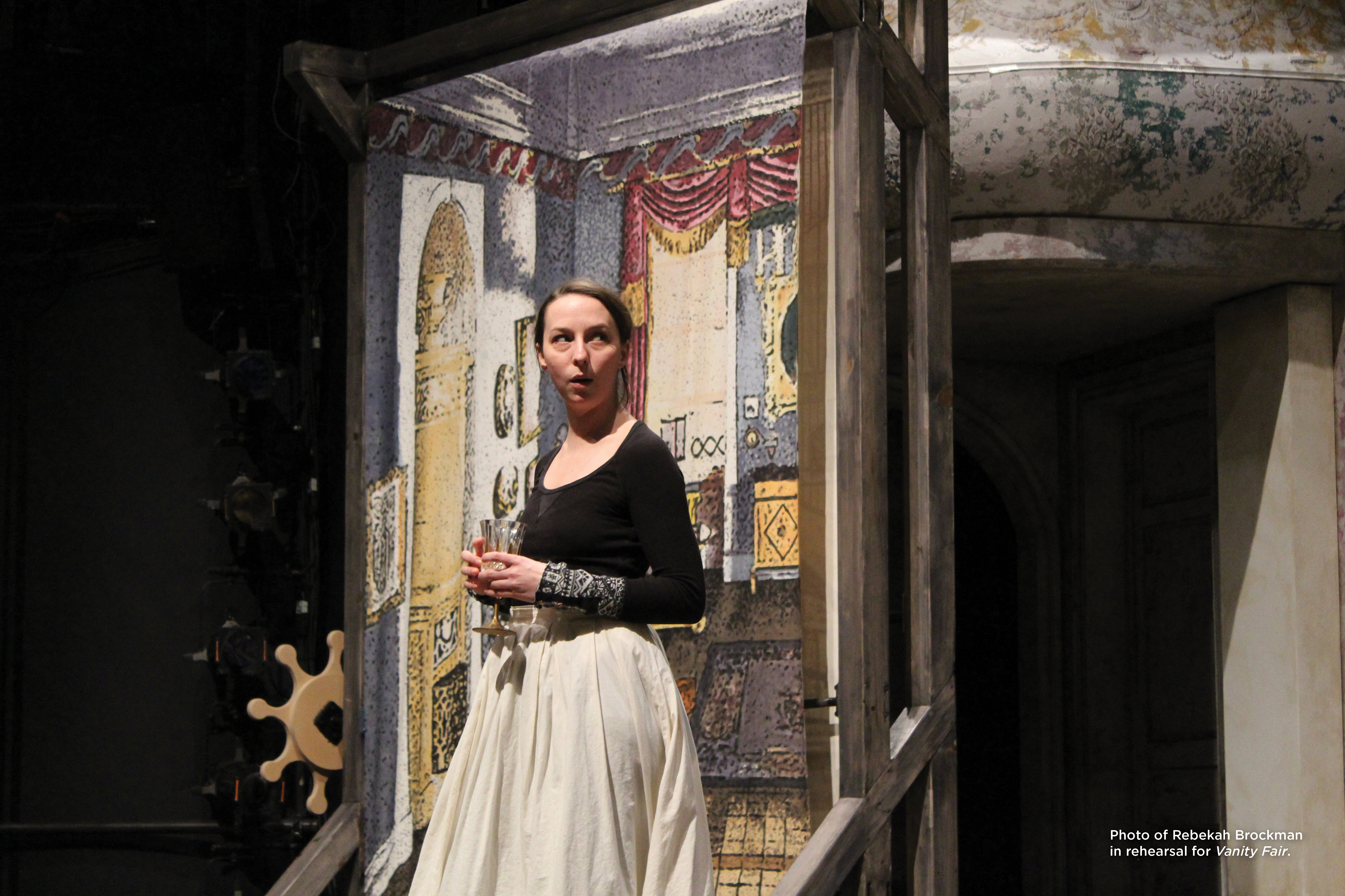 Photo of Rebekah Brockman in rehearsal for Vanity Fair.