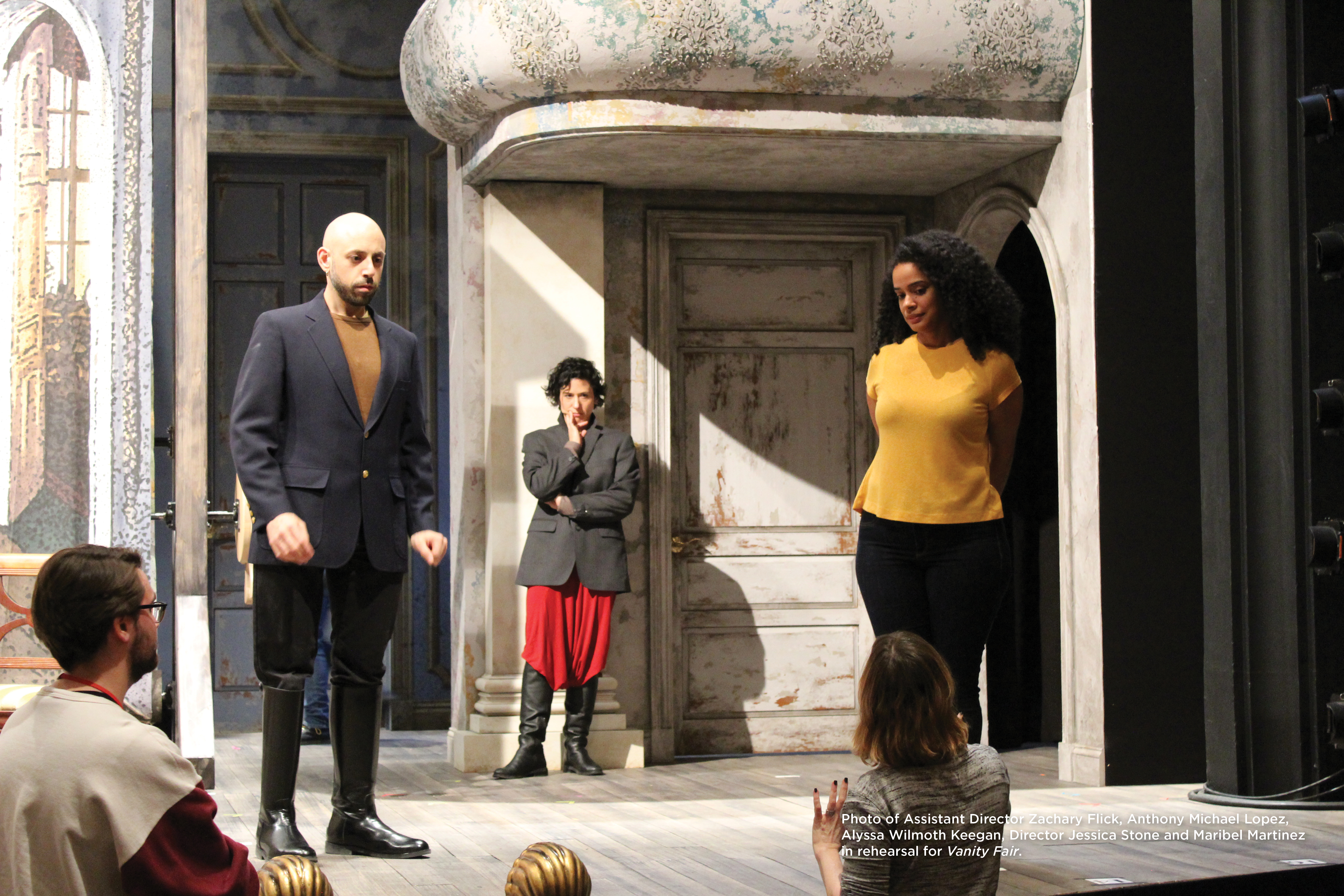 Photo of Assistant Director Zachary Flick, Anthony Michael Lopez, Alyssa Wilmoth Keegan, Director Jessica Stone and Maribel Martinez in rehearsal for Vanity Fair.