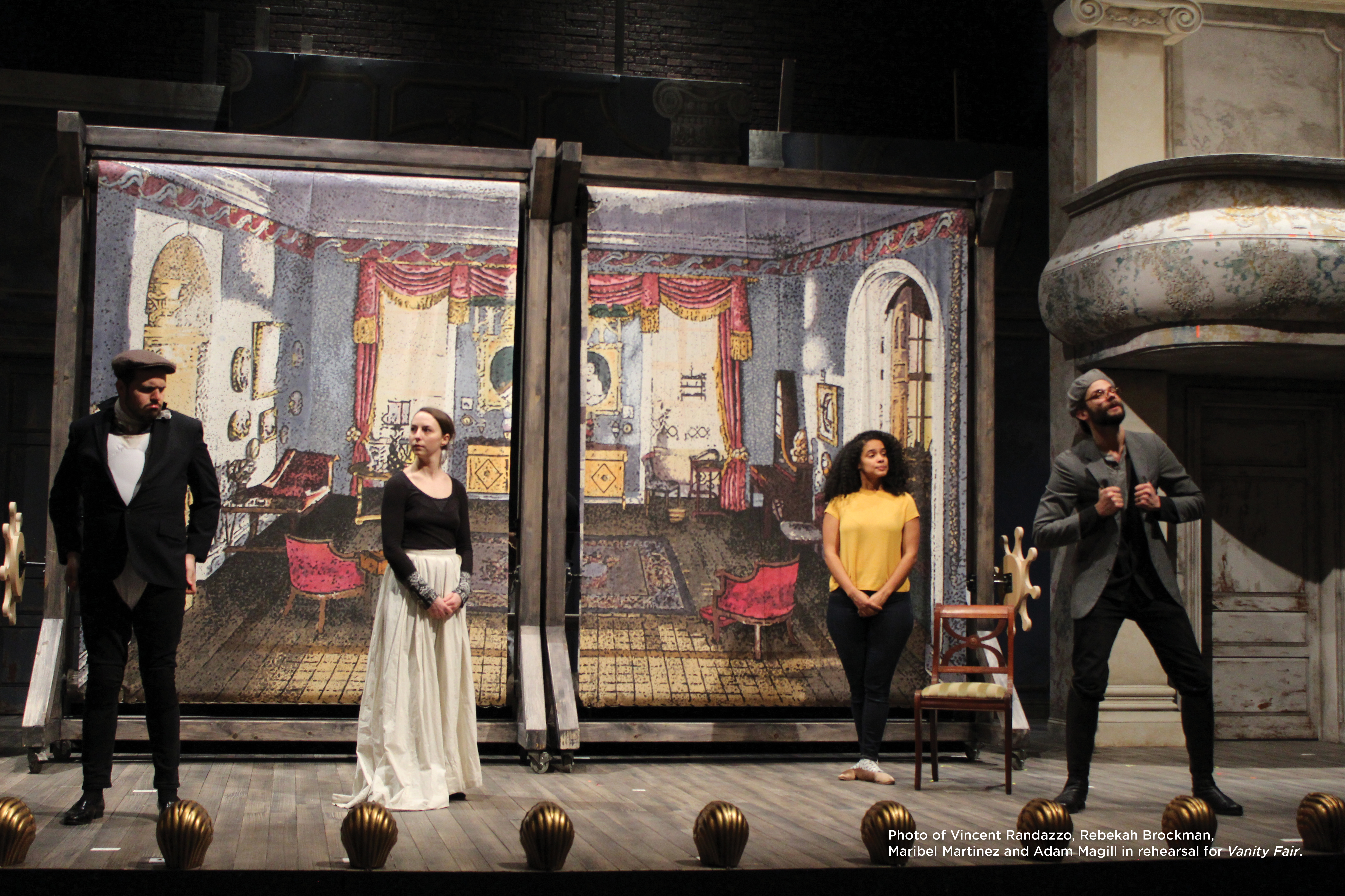 Photo of Vincent Randazzo, Rebekah Brockman, Maribel Martinez and Adam Magill in rehearsal for Vanity Fair.