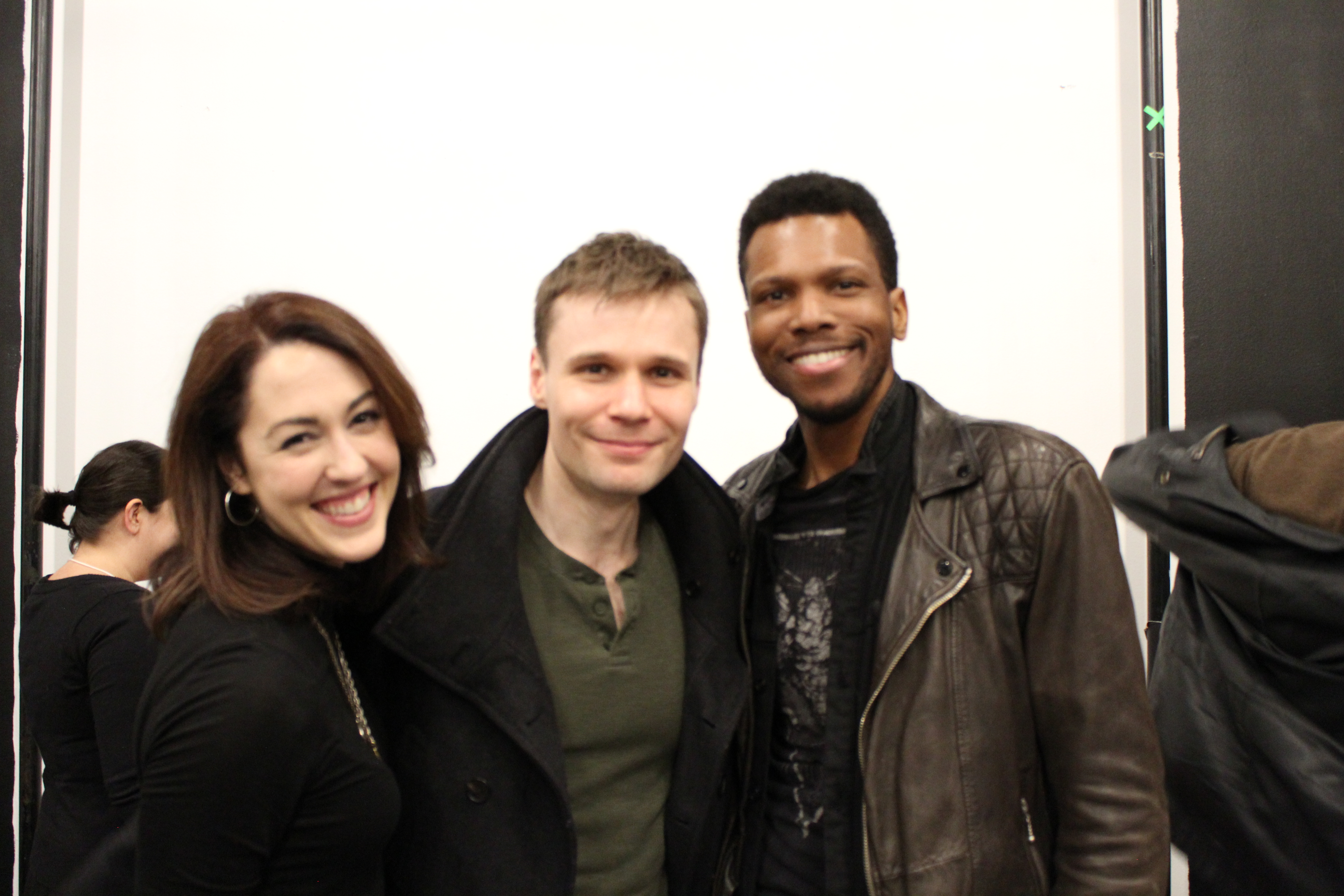 Photo of Kelley Curran (Clytemnestra), Josiah Bania (Orestes) and Corey Allen (Chorus) in rehearsal for The Oresteia.